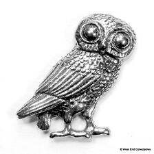 Owl of Athena Pin Brooch Badge -UK Made- Mythology Symbol of Knowledge & Wisdom