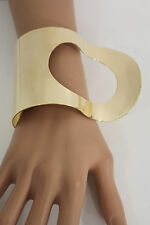 New Women Gold Metal Hand Cuff Bracelet Fashion Jewelry Retro Wave Hole Shapes
