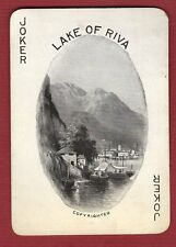 Single Swap Playing Card JOKER G41 LAKE OF RIVA BOAT SCENERY ANTIQUE OLD VINTAGE