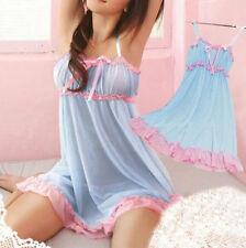 Fashion Women Lace lingerie Sleepwear Nightwear + G-string Babydoll Nightdress