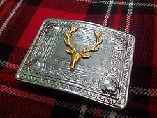 TC Men's Kilt Belt Buckle Stag Head/Stag Head Kilt Belt Buckles Chrome & Golden