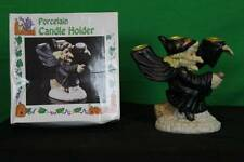 Vintage Porcelain Halloween Witch Candlestick Holder Decorative Collectible