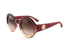 Authentic GUCCI Sunglasses GG 3788 Red Gold GG Round Rubber Bordeaux 2 Tone LOOK