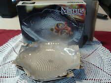 "NIB SET 4 MARINE GLASS FISH PLATES 10 1/2"" PAUL REVERE CRYSTAL HOME ESSENTIALS"