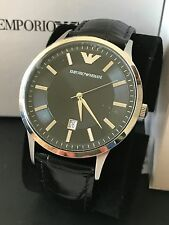 Emporio Armani Men's Black Embossed Leather Strap Classic Slim Watch AR2411 NWT