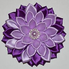 Handmade Girl's Flower Hair Clip/Bow in Purple, School/Wedding//Party, Kanzashi
