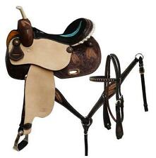 "15"" CIRCLE S 5PC PACKAGE Barrel Saddle Set With Feather Tooling on skirt!"