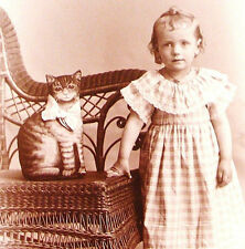 ADORABLE Antique Cute GIRL w/ Stuffed CAT Fabric PILLOW or Toy CABINET Photo