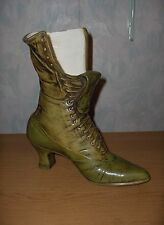 Large Vintage 1960's Green Lace Up Boot Shoe Vase Ceramic Pottery Planter