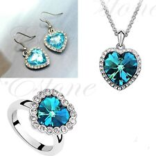 Titanic Heart of Ocean Blue Crystal Rhinestone Necklace Earring Ring Jewelry Set