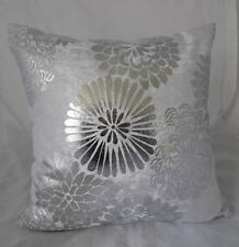 Stunning Metalic Silver Abstract Flowers White Velvet Cushion Cover ~ 45cm