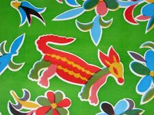 LIME GREEN AZTEC FIESTA MEXICAN ANIMAL BIRDS RETRO VINYL OILCLOTH SEW FABRIC BTY