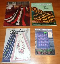 lot of 4 Vintage Afghan Pattern Booklets knit & crochet Star 52 Red Heart 346 ++
