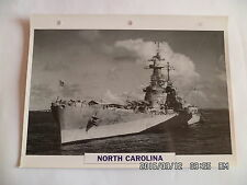 CARTE FICHE NAVIRES DE GUERRE NORTH CAROLINA 1940 CUIRASSE