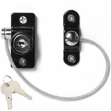 BLACK SAFETY WINDOW RESTRICTOR LOCK UPVC/Wooden Door Child Security Wire Cable