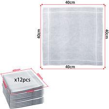 12pcs White Handkerchiefs 100% Cotton 40cm Square Soft & Washable Hankie Hanky