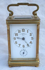 French Alarm Travel Clock Beveld Glass Bronze F Stenn Paris 1900