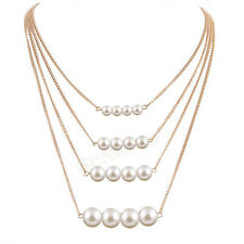 American Style Four Layer Multi Strand Imitation Pearl Bead Gold Plated Necklace