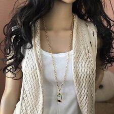 Fashion Jewelry long chain Sweater necklace with bird cage pendant Made in USA