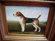 Vintage Oil / Canvas Beagle Hunting Dog Scene Signed Shipley Framed 17.5 x 15.5