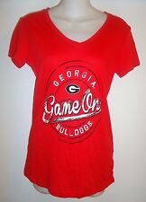 "NWT Red Womens SOFFE UGA Georgia Bulldogs ""Game On"" V-Neck T Shirt Size M"