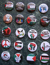 "20 x FREE PALESTINE BUTTON BADGES 25mm 1"" PIN SOLIDARITY FLAG PROTEST GAZA PEACE"