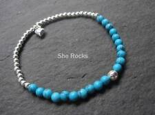 STERLING SILVER TURQUOISE STRETCH BRACELET DESIGNER DECEMBER BIRTHSTONE JEWELRY