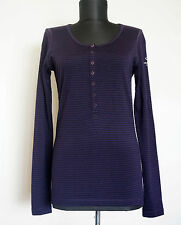 Icebreaker 200 Woman 100% Merino Wool Long Sleeve Striped Purple Top, Size:S