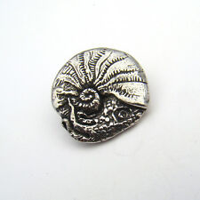 Nautilus button ocean ammonite great for clasp Green Girl lead free pewter 20mm