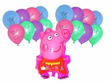 Peppa Pig Large Pink Helium Plastic Balloon and 12 x Peppa Pig latex balloons