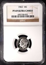 1963 Proof Roosevelt Dime graded Pf 69 Ultra Cameo by Ngc!