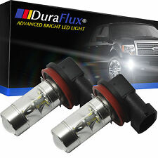 DuraFlux 2x 60W H11 LED Fog Light Drving Bulbs 6000K HID White w/ Top Projector