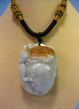 "Handcrafted knot work cord adjustable jade carved ""RuYi"" pendant/necklace"