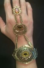 Vintage gold tone costume jewelry slave chain bracelet ring peacock