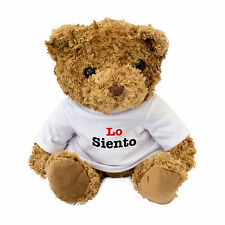 NEW - LO SIENTO - Cute And Cuddly Teddy Bear Gift - I Am Sorry In Spanish