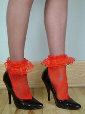 LACE Anklets w/ RUFFLED LACE CUFFS - RED