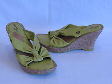 """Born """"Drilles"""" Lime Green Leather Wedge Heels/Slides - 7M/W - GR8!"""