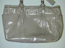 "Coach Metallic Shimmer Gallery Tote Shoulder Purse F16565 Beige/Pewter 12"" wide"
