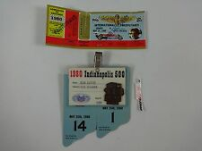 1980 Indianapolis 500 Bronze Pit Badge & Ticket Tom Soyrs Timing and Scoring