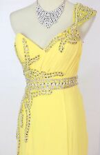 New Authentic Terani JP604 Yellow One-Shoulder Bridal Women Prom Formal Gown 14