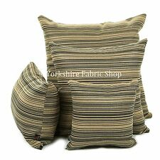 New Striped Design Pattern Printed Chenille Handmade Cushion Cover & Filling