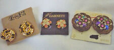 NOC 3 pr clip earrings Treska, Coro & Garnett rhinestones & flowers RRP $47.45