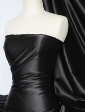 Black fluid super soft satin stretch fabric Q855 BK
