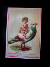 Victorian trade Card=Wm H Frear Dry Goods=Child sits on Giant Pigeon=Troy Bazaar