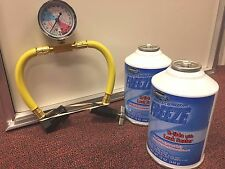 R134A, (2) 12 oz. can Kit FREEZE, REFRIGERANT, Leak Sealer MOBILE A/C Gauge