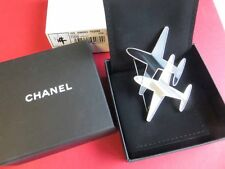 Chanel 2016 AUTH NIB Runway Double Airplane CC Logo Silver Black Pin Brooch 16S