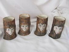 Tom Hatton 4 tree stump vases with three dimensional faces
