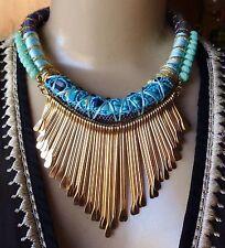 Baublebar Necklace Wide Blue Woven Collar W/ Huge Matchstick Bib Pendant