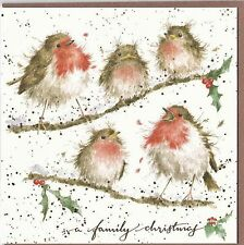"Country Set Christmas Greeting Card Wrendale Designs  ""Family Chrismas""  Robins"