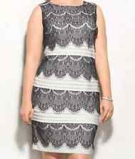 DRESSBARN WOMEN'S IVORY BLACK SLEEVELESS TIERED LACE SHEATH DRESS PLUS Sz 16